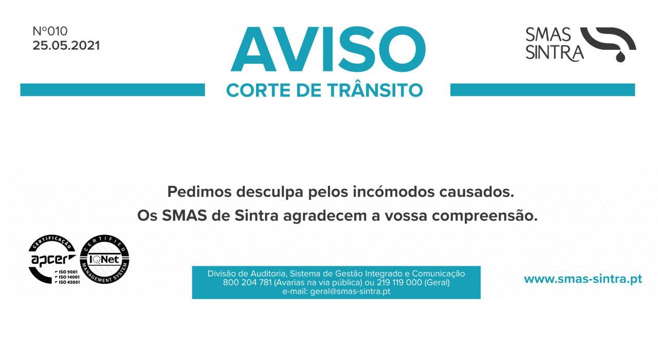 Aviso SMAS - Corte de Trânsito na Rua da Bica